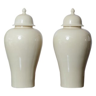 Asian Style Ceramic Large Cream Color Ginger Jars, A-Pair For Sale
