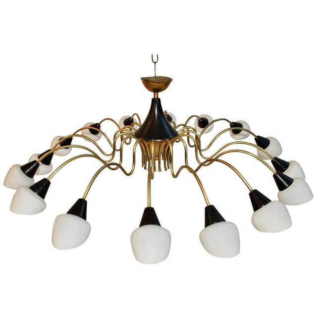1960s Brass Chandelier Design by Stilnovo with White Shades For Sale - Image 5 of 5
