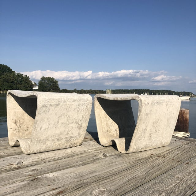 1960s Mid Century Guhl Wasler Cement Garden Stools - a Pair For Sale - Image 9 of 10