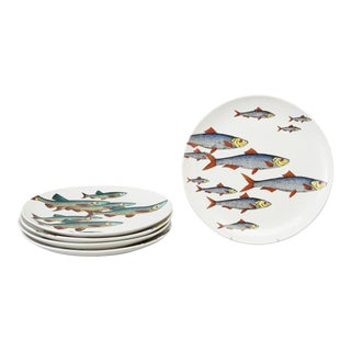 Rare Piero Fornasetti Pottery Fish Plates, Passata de pesce (Passage of Fish) or Pesci. Set of Four.
