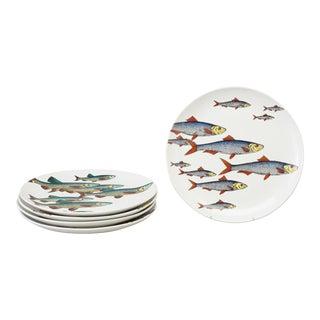 Rare Piero Fornasetti Pottery Fish Plates, Passata de pesce (Passage of Fish) or Pesci. Set of Four. For Sale
