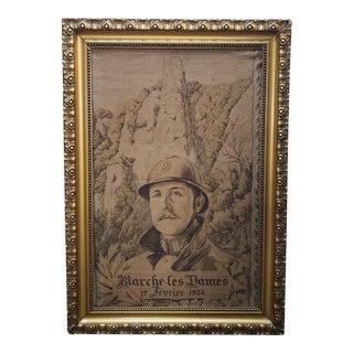 Late 1930's King Albert I of Belgium in Memoriam Framed Portrait Tapestry For Sale