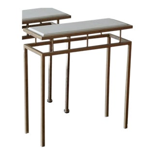 Contemporary Iron and Limestone Drinks Table For Sale