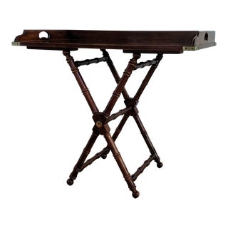 1980s Campaign Mahogany Butlers Tray Table For Sale
