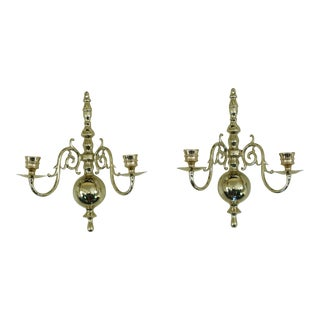Pair Virginia Metalcrafters Colonial Style Brass Candelabras For Sale