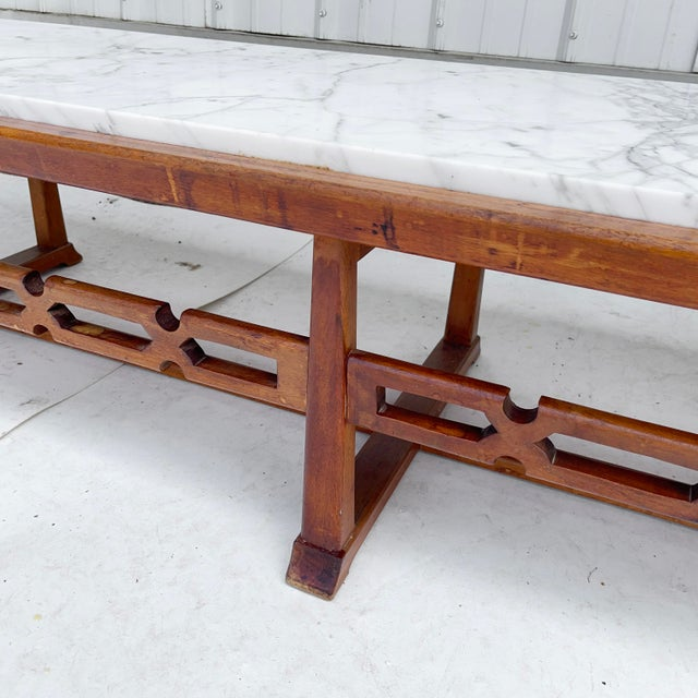 Wood Long Mid-Century Marble Top Coffee Table For Sale - Image 7 of 13