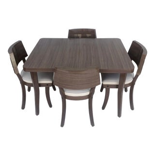 Mid-Century Modern Dining Set- Four Chairs, Two Leaves For Sale