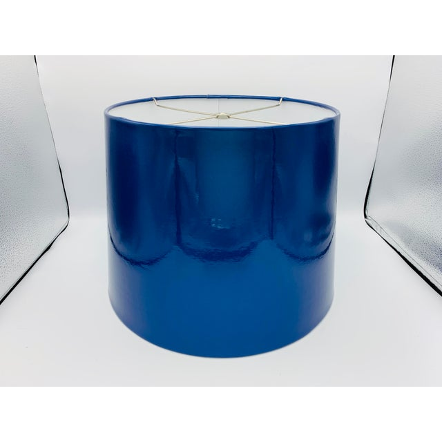 Blue Custom Metallic Blue Vinyl Lampshade For Sale - Image 8 of 8