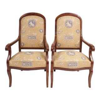 Pair of Louis Phillipe Chairs in Toile For Sale