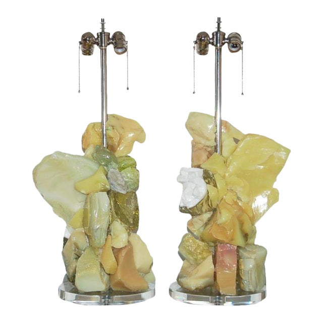 Glass Rock Table Lamps by Swank Lighting Yellow Orange For Sale