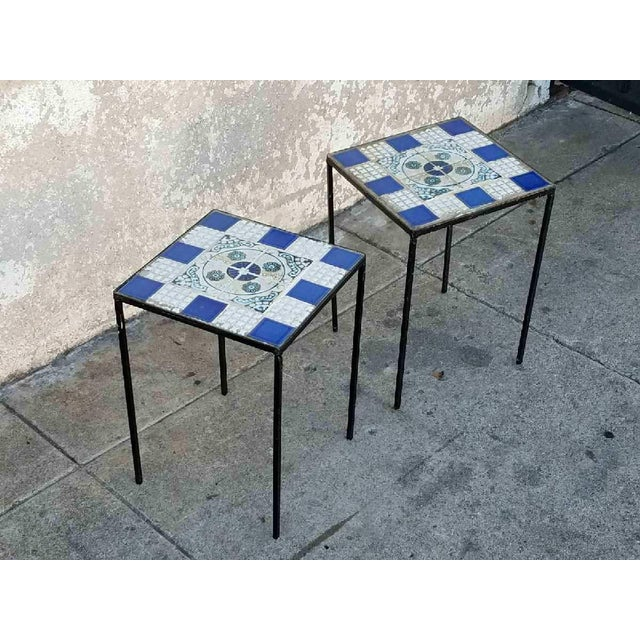 Vintage Morracan Tiled Top Side Tables - A Pair - Image 6 of 7