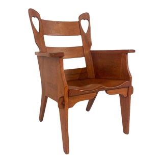 Rare & Whimsical Cushman Hard Rock Maple Chair W. Heart Cut-Outs Mortise & Tenon Joints For Sale