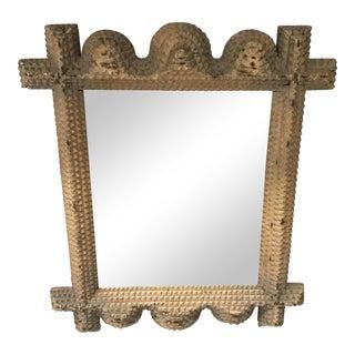 Tramp Art Folk Handmade Mirror For Sale