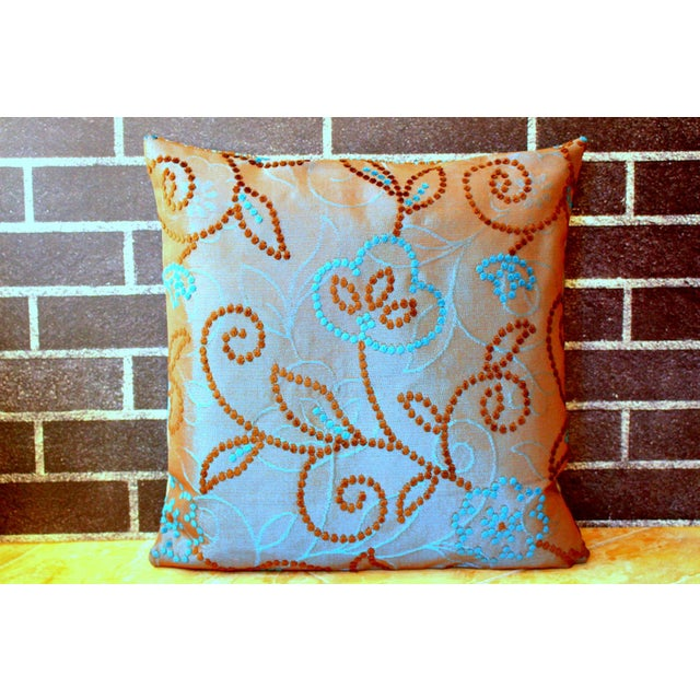 Robin's Egg Blue Vintage Floral Handwoven Varanasi Brocade Reversible Pillow For Sale - Image 8 of 13