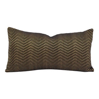 """F. Schumacher Pallazo Chenille in Onyx Lumber Pillow Cover - 10.5"""" X 20"""" Gold and Black Chevron Rectangle Accent Pillow Case For Sale"""