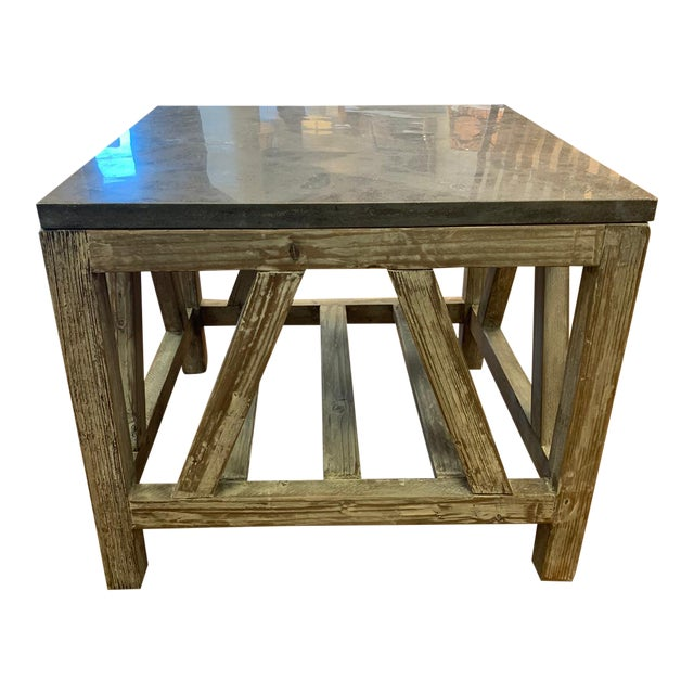 Old Fir and Bluestone Side Table For Sale