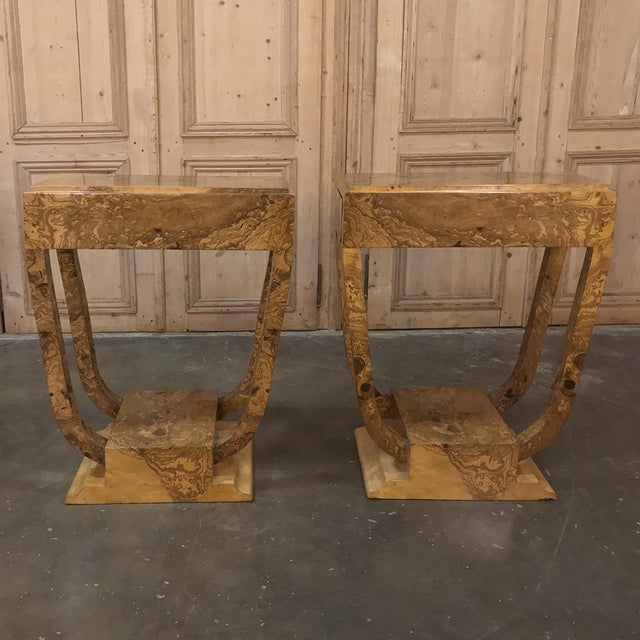 Pair Art Deco Burl Walnut End Tables For Sale - Image 4 of 12