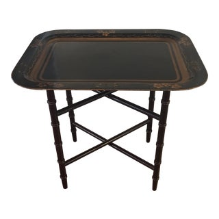 Hand Painted Tray Table With Bamboo Stand For Sale