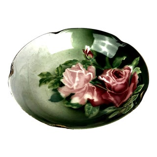 1800s Hand Painted Rose Pattern Serving Bowl For Sale