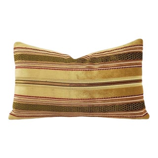 "Victorian Lee Jofa Prince Regent Stripe in Fawn Lumbar Pillow Cover - 12"" X 20"" Gold, Red, and Moss Green Stripe Velvet Rectangle Cushion Case For Sale"