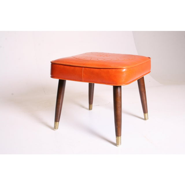 Mid Century Modern Orange Vinyl Foot Stool - Image 3 of 11