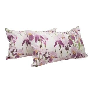 Iris Floral Lumbar Pillows - A Pair For Sale