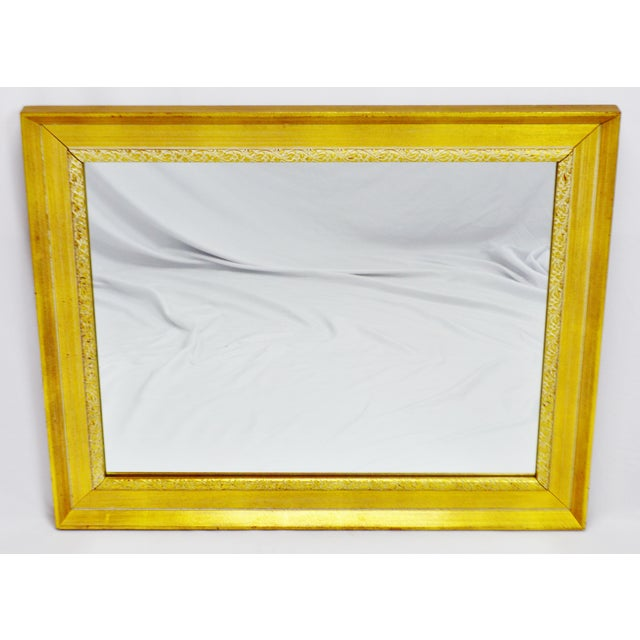 """Vintage Gold and White Striated Paint Framed Mirror Approximate Frame Dimensions: 31.5"""" wide x 25.5"""" high Approximate..."""