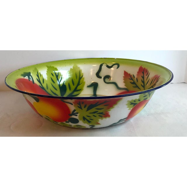 Love this colorful enamel painted vegetable bowl!