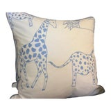 Image of Schumacher Jungle Jubilee Pillows in Sky Blue - a Pair For Sale