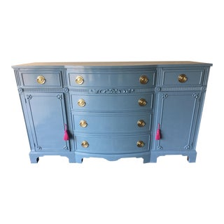 1970s Regency Thomasville Sky Blue Lacquered Buffet/Credenza