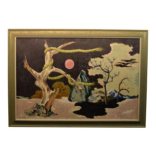 "Surrealist Landscape Painting Titled ""Storm Warnings"" Circa 1940, Signed Frederick Buchholz . For Sale"