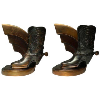 1930s Art Deco Cooper Plated Cowboy Boot Bookends by Trophy Craft
