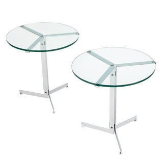 """1970s Hans Eichenberger """"Alpha"""" Side Tables in Chrome and Glass - a Pair For Sale"""