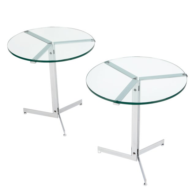 "1970s Hans Eichenberger ""Alpha"" Side Tables in Chrome and Glass - a Pair For Sale"