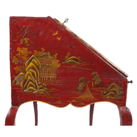 Louis XV Louis XV Period Gilt-Bronze Mounted Red-Lacquered Drop Front Bureau, Ca. 1750 For Sale - Image 3 of 5