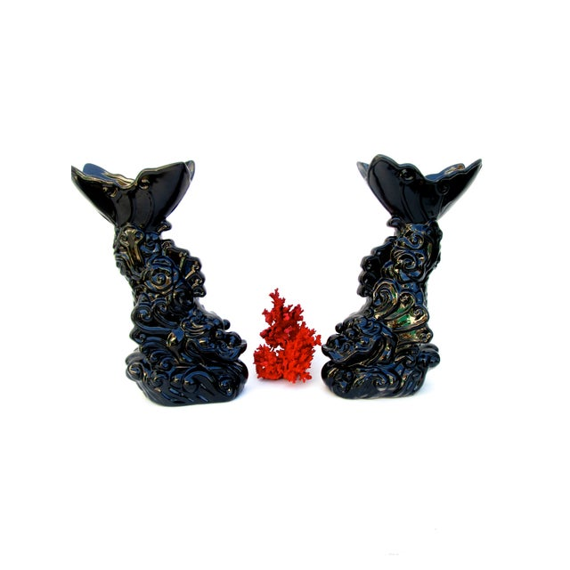 Asian Dragon Koi Figural Vases - A Pair - Image 10 of 10