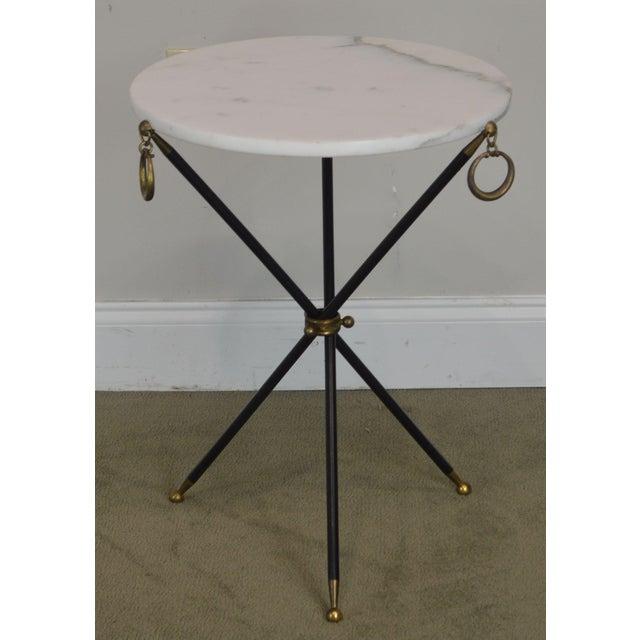T.H. Robsjohn Gibbings Tripod Mid Century Regency Style Round Marble Top Side Table After Robsjohn Gibbings For Sale - Image 4 of 13