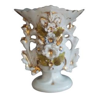 Gold Gilt on White Paris Porcelain Spill Vase For Sale