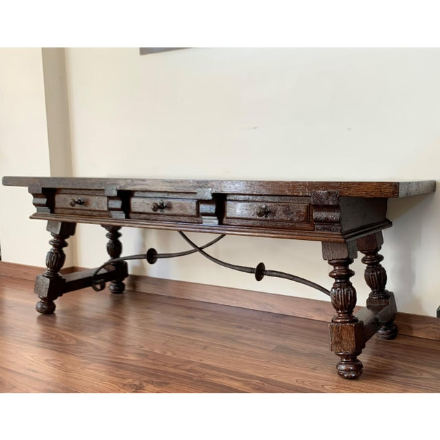 Late 19th Century 19h Spanish Bench or Low Console Table With Marquetry Drawers and Iron Stretcher For Sale - Image 5 of 11