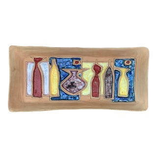 Vintage Italian Abstract Bottles Pottery Wall Hanging Plate For Sale