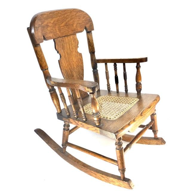 Tiger Oak Childrens Rocking Chair Cane Seat 1890 1920