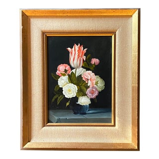 Contemporary Dutch Style Floral Still Life Oil Painting, Framed For Sale