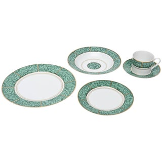 Set of Four Settings of Georges Briard Imperial Malachite China Service For Sale