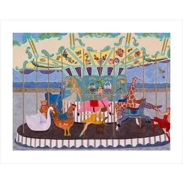 Large and enchanting, a whimsical hand embellished giclee on canvas of a carousel in Ile de Re, France. Frame not...