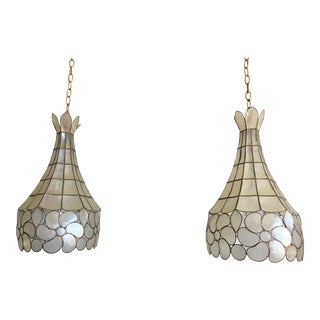 Capiz Shell Floral Pavilion Lights - a Pair For Sale