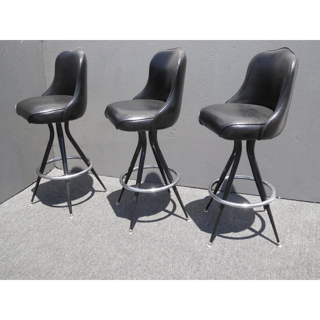 Vintage Mid-Century Modern Black Vinyl & Chrome Swivel Bar Stools - Set of 3 - Image 3 of 10