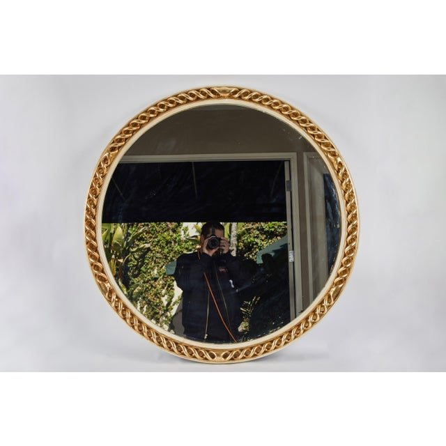 Glass Mid 20th Century Circular Carved Gilt and Painted Mirror For Sale - Image 7 of 8
