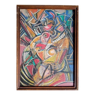 Mid 20th Century Abstract Portrait of Nude Female Oil Painting, Framed For Sale