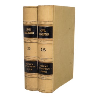 Pair of Monumental Civil Register Books C.1960 For Sale
