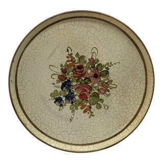 Mid 20th Century Vintage Tole Painted Round Tray For Sale